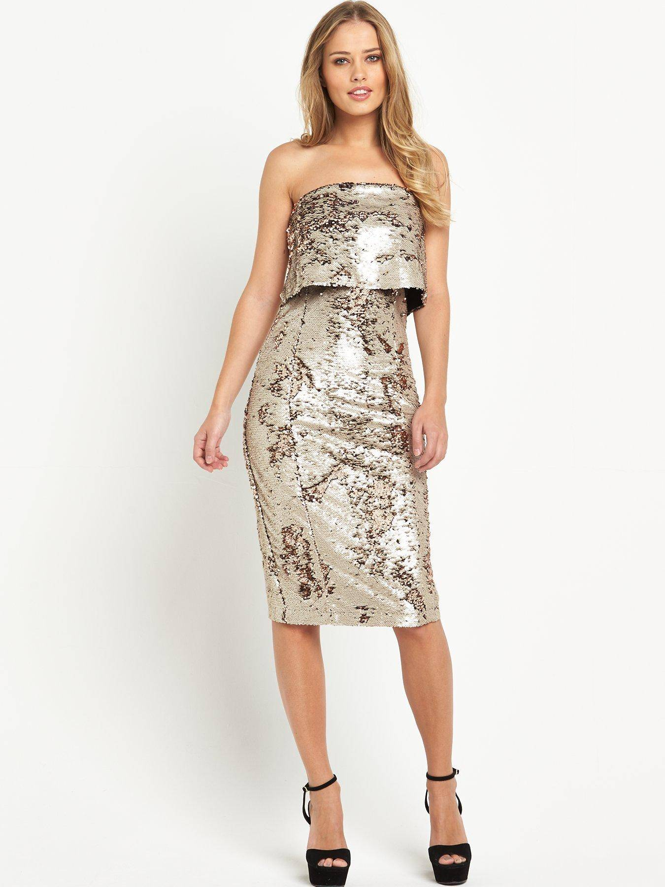 No. 1 in Christmas eve outfits : Lavish Alice Reverse Sequin Bandeau Cropped Midi Dress @  £62.00