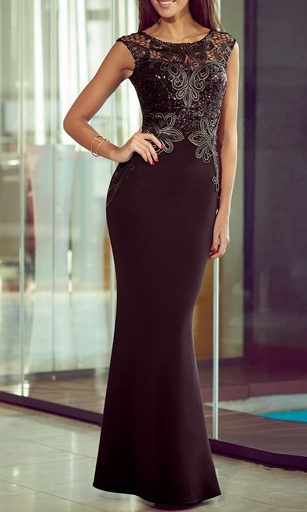 No. 8 in Christmas eve outfits :  Michele Keegan Applique Sequin Maxi Dress @ £85.00