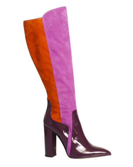 De Siena Orange Celia Multicolor Suede Knee High Boots