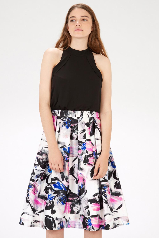 Brushstroke Print Midi Dress