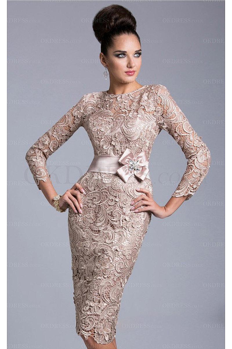 Classic Sheath Bateau Knee Length Lace Evening Dresses