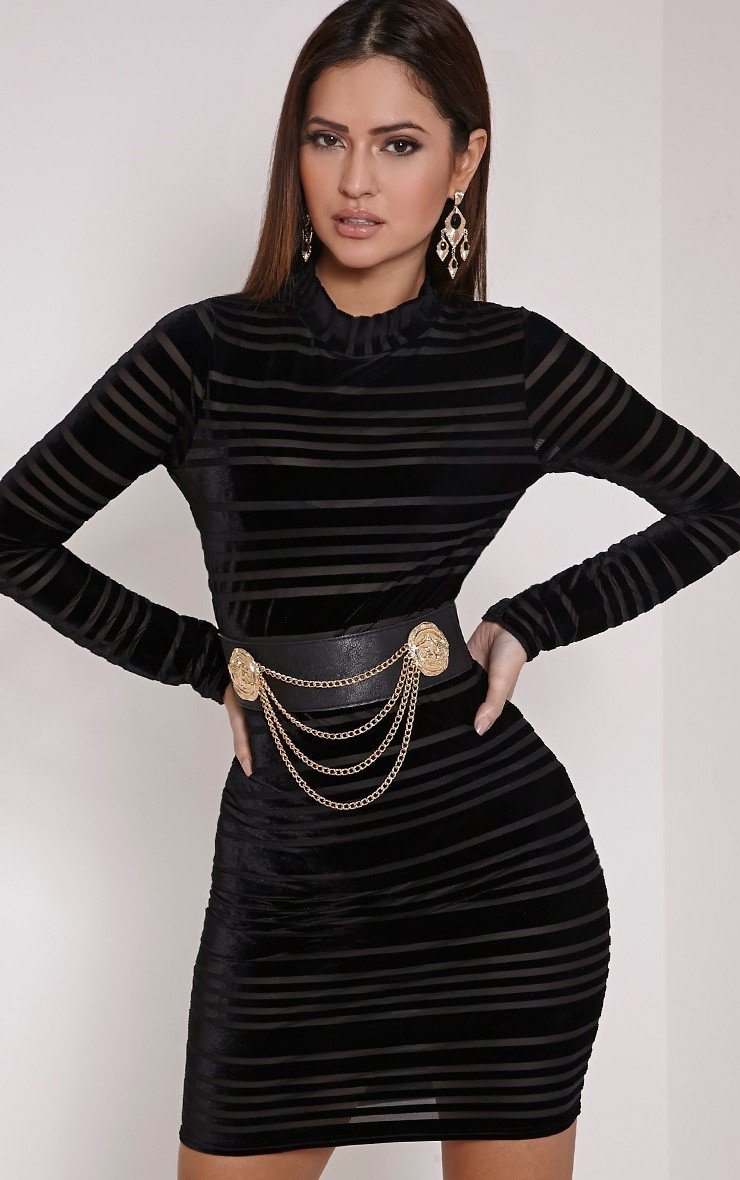 Faye Black Velvet Stripe Bodycon Dress