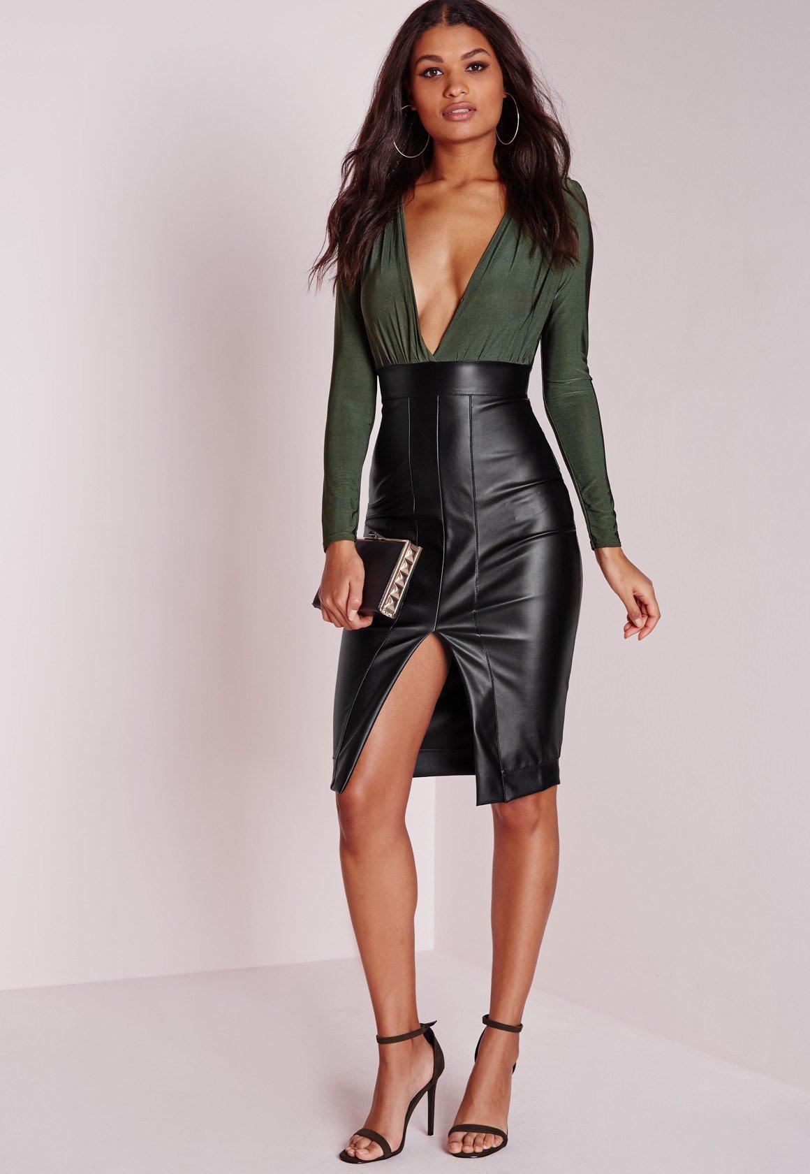 faux leather slinky midi dress khaki