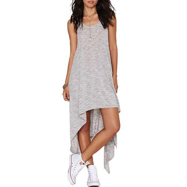Simple Scoop Collar Sleeveless Asymmetrical Sundress For Women