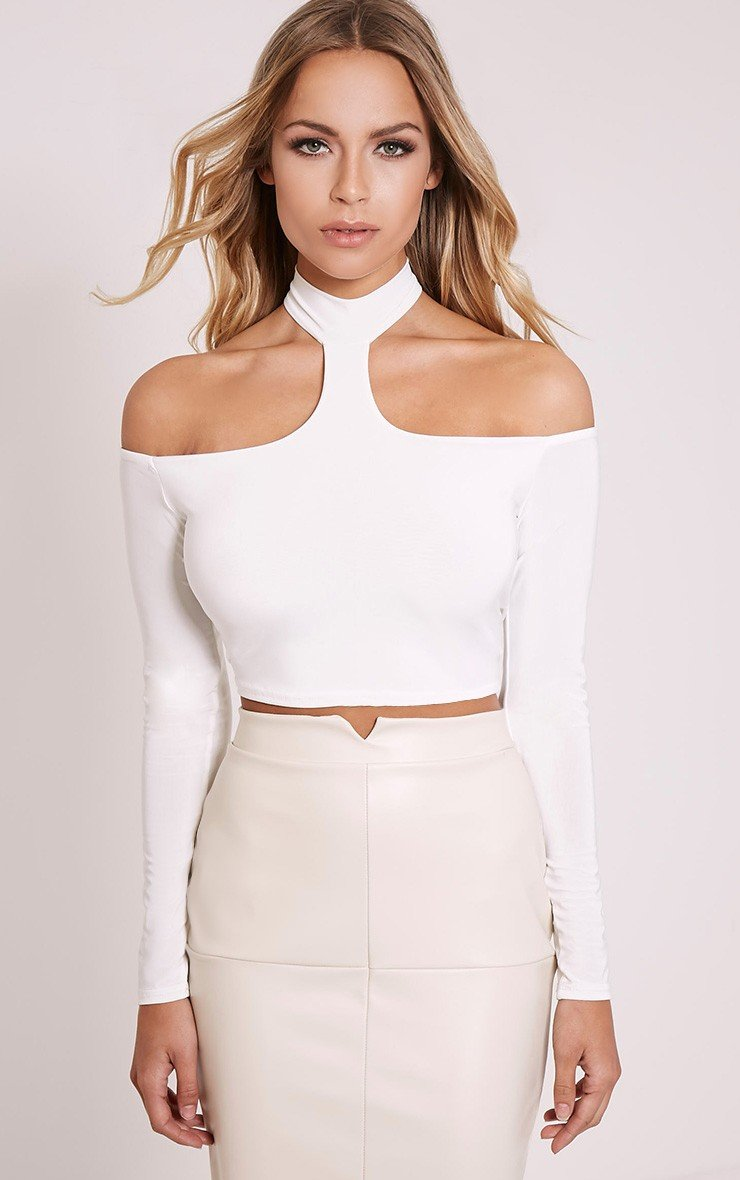 ROSALEE CREAM CUT OUT SHOULDER CROP TOP