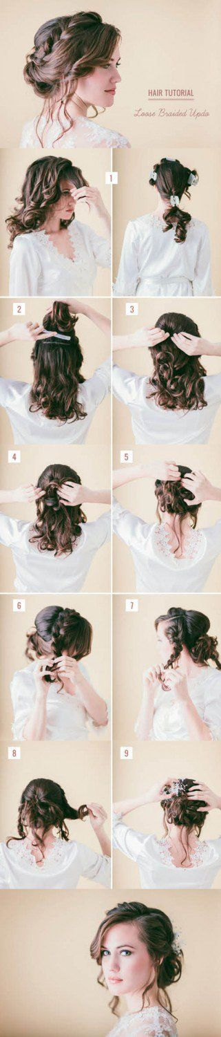 Loose braided updo